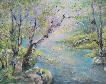 SPRING STREAM, original oil landscape painting 50x35cm