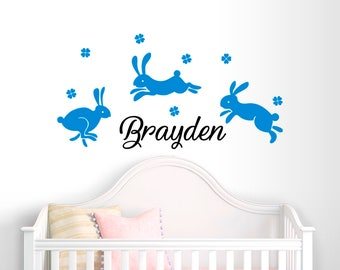 Nursery Wall decal boys-Boy Name Wall Decal-Rabbit wall decals-Nursery wall decals-Personalized decals-Bunny wall stickers-Boy name decals