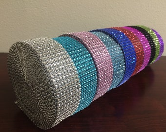 "1.5"" x 1 Yard Wide 8 Rows Diamond Rhinestone Crystal Mesh Ribbon Wrap Available in 13 colors"