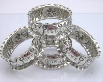 Antique set of 4 .925 sterling silver napkin rings John Rose Birmingham 1906