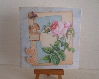 with roses and hearts birthday card