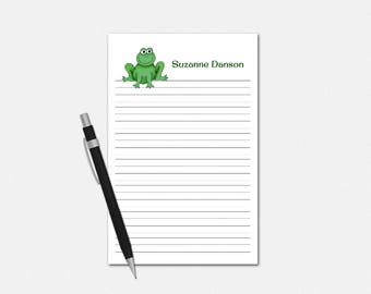 Personalized Frog Notepad - Frog Lined Notepad - Personalized Notepad - Lined Stationery for Kids - Custom Frog Notepad