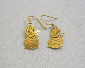 Vintage Two Piece Cat Pierced Earrings
