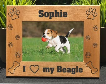 I Love my Beagle // Personalized Engraved Photo Frame // Picture Frame // Dog Lover Gift // New Puppy Gift // We Love our Beagle