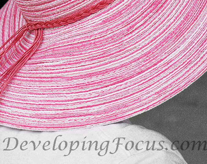 Pink Straw Floppy Hat Photography, Partial Color Photography, Pink Accent Photography, Instant Download Photography Art Card or Print