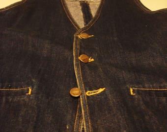 Vintage 1970s Dark Denim Gold Button Vest