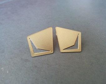 Gold Stud Earrings, Gold Earrings, Stud Earrings, Gold Post Earrings, Ear Studs, Geometric earrings, gold studs, Gift, Geometric Studs