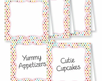 Buffet Label and Place Cards for Events, a Birthday Party, Showers or Weddings, Printable or We Print, DIY