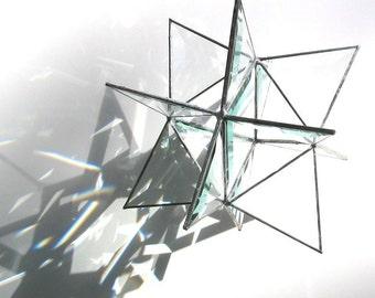 Compagnon - petit vitrail 3D Star Moravie - décoration géométrique Noël vacances décoration Clair Suncatcher prismes de la lune