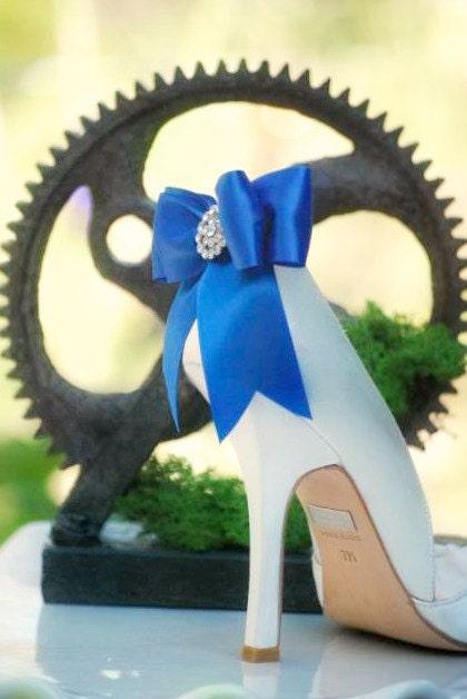 Shoe Clips Royal Blue / White Bow. Shiny Ribbon. Sparkly Rhinestones & Satin Ribbon. Shiny Bridal Fashion Couture, Emerald Teal Sage Pink Red Black Ivory f2ef6d
