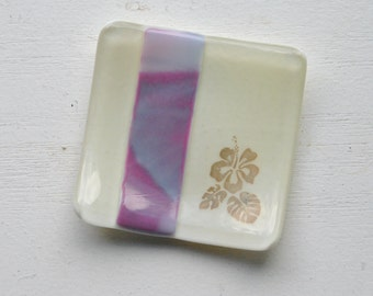 Pink/Purple Hibiscus Mini Fused Glass Dish