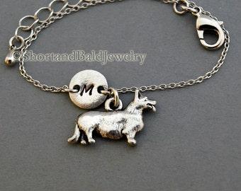 Corgi charm bracelet, Welsh Corgi, antique silver, initial bracelet, friendship, mothers, adjustable, monogram