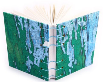 Underwater Volcano Journal, made with a scientific map - handmade by Ruth Bleakley - 160 page Unlined Journal