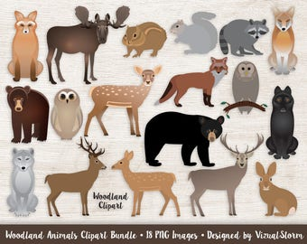 Woodland Animal Clipart Forest Animals Moose Deer Stag Bear