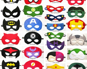 90 felt Superhero masks party pack - for kids ten adults - YOU CHOOSE STYLES - Dress up play Photo props accessory - Birthday Wedding favors