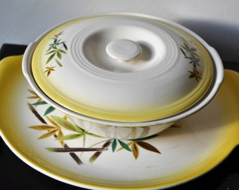 MID CENTURY Bowl Platter Set Tropical Leaves by Harmony House Retro Kitchen