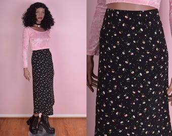 90s Floral Print High Waisted Skirt/ Small/ 1990s