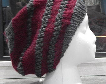 Beautiful worsted wool slouchy hat in maroon and heathered gray.