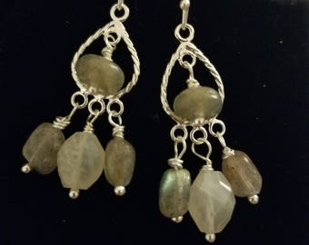Labradorite Chandelier Earrings  with Rainbow Moonstone