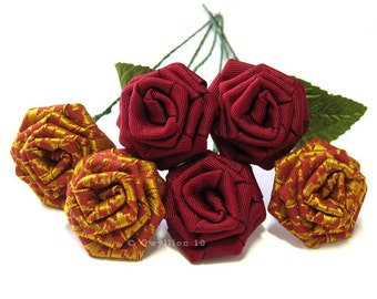 Copper Red Houndstooth Rose Bouquet
