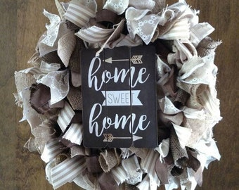 Home sweet home wreath, beige and brown wreath, ribbon wreath