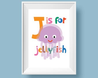 Colourful Retro Nursery Giclee Print - Slogan 'J IS FOR JELLYFISH' - A4 size - Alphabet Letters Cartoon Poster for Kids Room