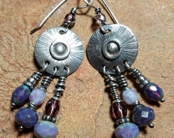 Unique Big Sterling Silver Earrings - Boho Purple - Handmade Ready to Ship