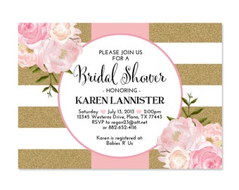 Pink Gold Glitter Bridal Shower Invitation Stripes Floral Pink Peonies Bridal Brunch Bridal Tea Birthday Party Invitation, Any Event