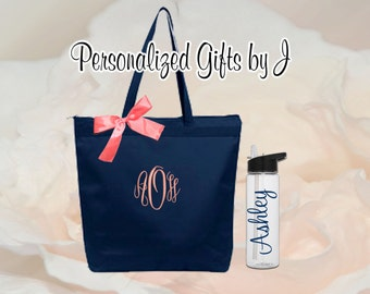 Bridesmaid Gifts Tote and Water Bottle Set, Bridesmaids Gift, Zippered Wedding Tote and Water Bottle Set, Personalized Tote and Tumbler