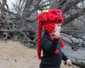 CROCHET PATTERN: Crocodile Stitch Dragon Hat (Baby & Toddler Sizes)