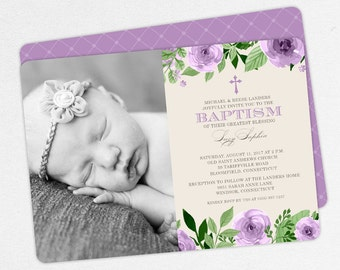 Photo Baptism Invitation, Christening Invitation, Girl Baptism Invitation, Printable Baptism, Watercolor Flowers, Floral, Purple, PDF, Lucy