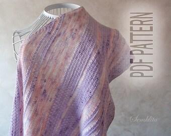Pdf pattern, hand knit, knitting shawl wrap, pdf knitting shawl pattern, oversized lace shawl, merino wool shawl, knit triangular shawl
