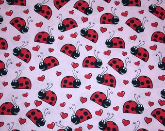 Pink Red Happy Lady Bugs Ladybugs Apparel Quilting 100% Cotton Fabric FULL Yard