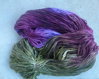 400 grams beautifully hand dyed, hand spun merino chunky yarn.