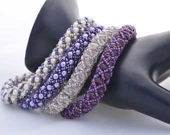 OOAK Beadwoven Bangle Bracelets in Shades of Purple and White Set of 4 Bracelets Handmade Womens Birthday Gifts Anniversary Gift for Her