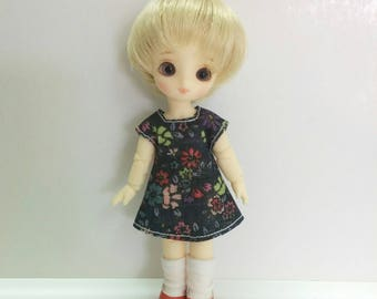 Dark Blue Floral Pattern Dress for Brownie/Obitsu11cm