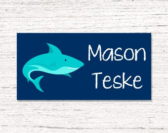 40 Waterproof Baby Bottle Labels - Dishwasher Safe - Sippy Cup Labels - Daycare School Name Labels - Shark
