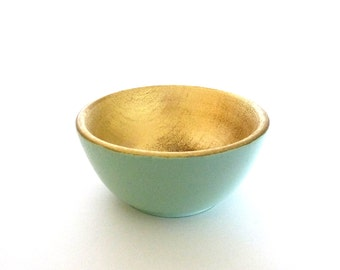 Mint green and gold wood dish, jewelry dish, ring cup, mini jewelry holder