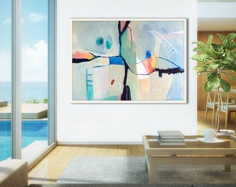 Large abstract painting print, blue ABSTRACT ART PRINT, large blue abstract print, large office abstract art, large blue wall art, giclee