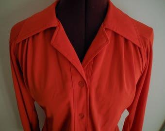 Bright Orange-Red Polyester 70s Shirt