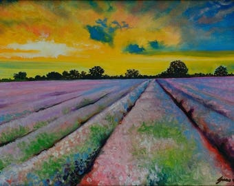 LE Lavender Sunset - A3 Print Of Original Painting Landscape Sunset Fields Countryside - Limited Edition 20 by Generoso Napoliello