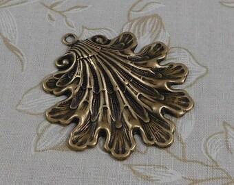 LuxeOrnaments Large Oxidized Brass Filigree Shell Leaf Pendant Focal (1 pc) 48x43mm S-4769-B