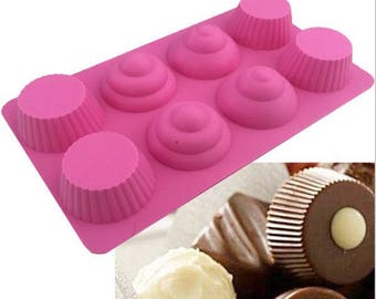8 cavity Cupcake Tops n Bottoms silicone fondant mould sugarcraft, chocolates