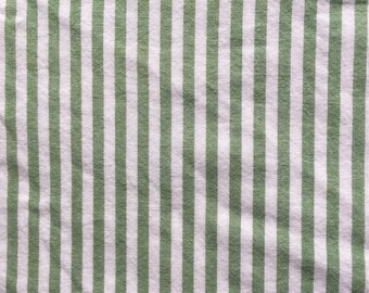 Cotton Vintage Sheet Fabric / Yarn Died Ticking Stripes / Green White / Cottage Shabby Chic Country Farmhouse Decor / Quilting Crafting