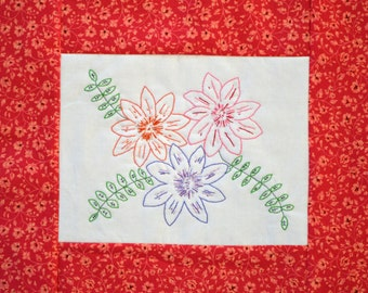 "PDF Stitchery Embroidery Pattern ""Tri Bloom Perfecta"" Flower"