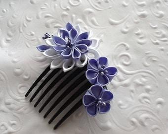 Hair Comb - Light Blue Lilac White Kanzashi Flowers - Wedding Hair Flowers
