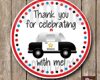 Instant Download - Police Party Favor Tag - Policeman Birthday - Police Car - Print at Home