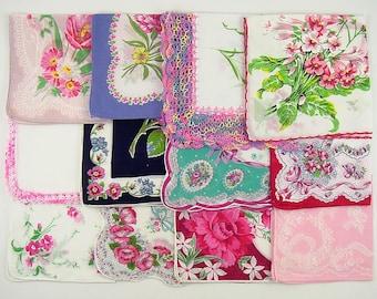 Vintage Hanky Lot,Vintage Lot of Handkerchiefs,Vintage Hanky Lot of One Dozen Assorted Pink Vintage Hankies Handkerchiefs (Lot #D14)