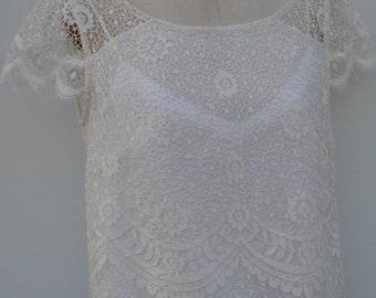 Blouse ivory lace, ivory lace blouse, boat neck, short sleeve lace top blouse, tunic ivory lace, ivory top
