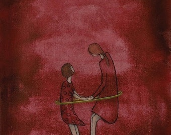 """Dark red nursery wall art/Mother and daughter fine art print/girls room wall decor/childrens room wall art """"Mae and Bebe - Hula in Dresses"""""""